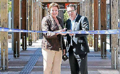 Acting TransLink CEO Matt Longland and Cr Debbie Blumel officially opening the $10 million Noosa Junction station.