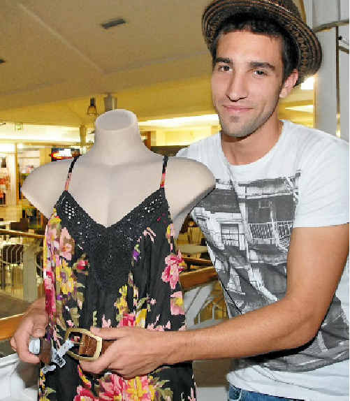Daily Mercury Whitsunday Miners star Jordon Corte seeks new fame as a stylist as he practises dressing a mannequin ahead of the Ready, Steady, Style fashion competition this weekend.