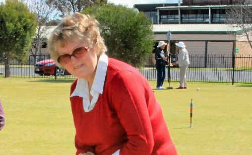 Gail Marden tries croquet at the come-and-try day in Warwick.