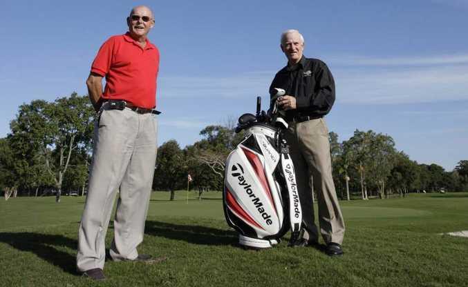 Horton Park Golf course Club President Geoff Davies (left) and Club Captain Michael Moore. Photo: Cade Mooney
