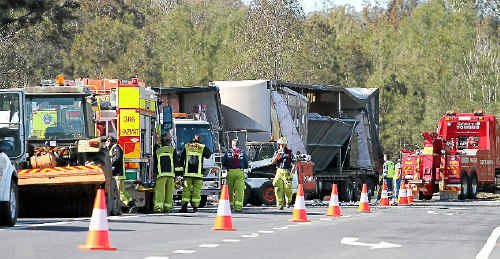 The driver of this B-double was lucky to walk away without injury after his truck overturned on the Pacific Highway, just south of Grafton, yesterday morning. The highway was blocked for several hours while crews cleared the scene.