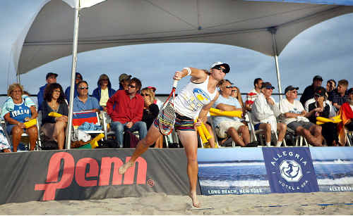 Maryborough's Nadia Johnston, the current number one beach tennis player in the United States, shows her style.