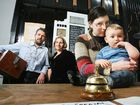 Tirra Lirra cafe owners Craig Scott and Melanie Peut are right behind Caroline Matthews (right) and her son Ben.