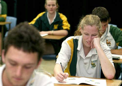 PRESSURE: Pioneer State High School students Blake Garland, Tobren Watson, Rebecah Luscombe and Daniel Selwood sit their QCS test.