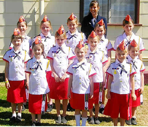 The Anakie State School choir with singing coach Le-Anne Cowell.