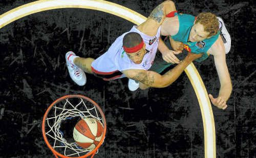 THE Perth Wildcats in a thumping win over the Townsville Crocodiles