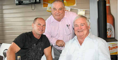 WITHCOTT HOTELIER NEIL Simpson with special guests Allan Langer and Billy J Smith at the mud crab lunch last week.
