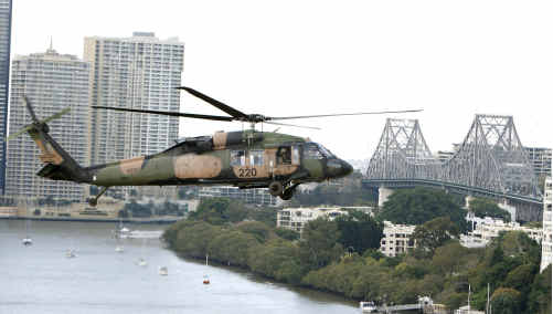 An Australian Army Black Hawk helicopter over Brisbane.