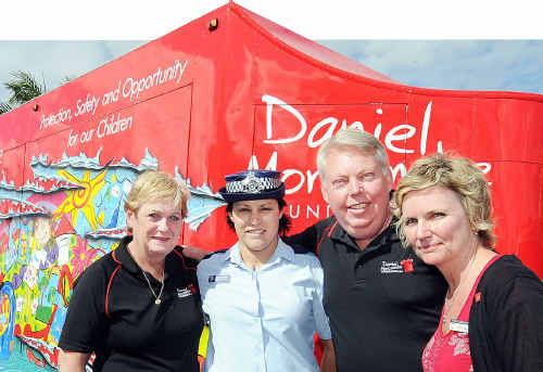 Denise and Bruce Morcombe with Senior Constable Melanie Ryan and Kaye Mason from St Mary's College during Child Safety Week.