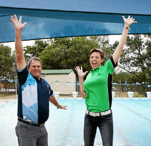 Cr Paul Steindl and new lessee Elisha Hunt are excited about the future of Sarina pool.