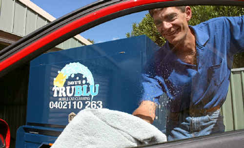 Dave Alker will visit clients at their home to clean their cars.