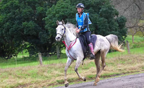 Melissa Longhurst and her horse, Pioneer Park Amurra, gain speed after coming down a mountain while competing in the Shahzada marathon.