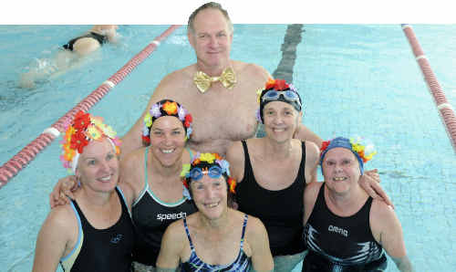The Beauties and Beaus team at the Gladstone Gropers Masters Swimming Cub's 25 year celebrations charity swim.