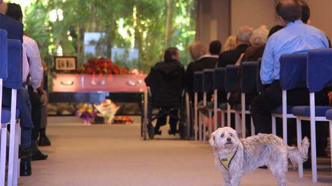 Violet Barben's beloved dog Honey at her funeral on Monday.
