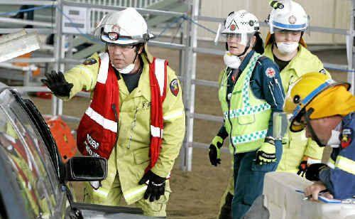Team Emerald work to free an injured 'patient'.