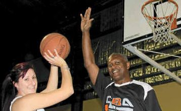 ONE ON ONE: Gatton Indoor Centre manager Rheanne Niebling with Clarence 'Pop' Dickerson.