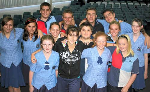 FAMINE: Mackay Christian College students, from back left: Nathan Lovett, Johannes Deysel, Storm Bartels, Lachlan Lovett; Middle: Chenice Turvey, Shannon Botha, Jacinta Rogers, Mitchell Meyer, Kirsty Lawrie, Maddie Braak; Front: Lydia West, Mikaela Bella, Bridget Botha and Chantelle Gregory.