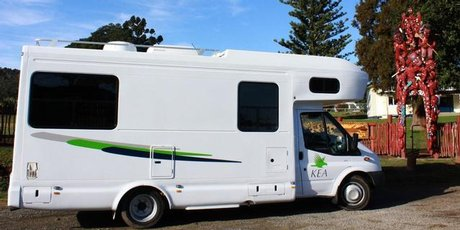 Jim Eagles finds an idyllic spot at Torere School to stop for a cuppa in the Kea Dreamtime motorhome.