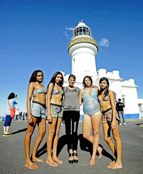 Lisa Bolt with her nieces modelling her new swimwear label PMSurf. The models are, from left, Sharnie Roberts, 19, Hope Jacky, 18, Leilani McGurgan, 19, and Tyeisha Roberts, 15. Cathy Adams