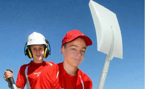 Sarina Youth Adventure Club members Braden Heath (back) and David Barker prepare to take part in the Coal Games.