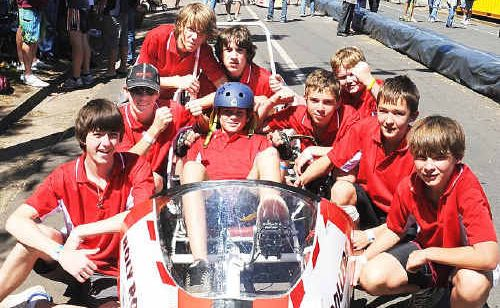 Maryborough State High School's junior boys team, the Holy Rollers, at this year's Technology Challenge.