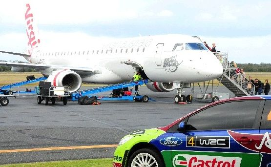 The airport on overload as World Rally Championship crews head off to their next event.