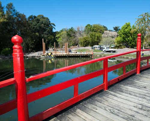 TAFE students help build Japanese garden structures at the North Coast Regional Botanic Garden.
