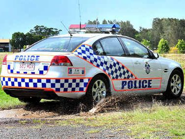 Police race into a property where a car ended up in a dam during an alleged theft.