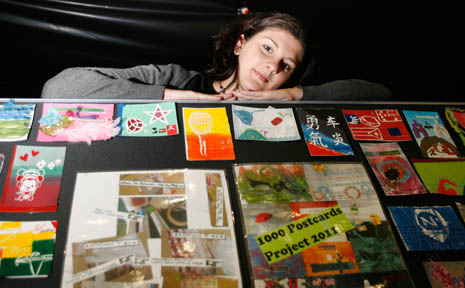Youth Ambassador Makhala Swinson with examples of the 1000 postcards, which forms part of her project to raise awareness of mental health issues and suicide.