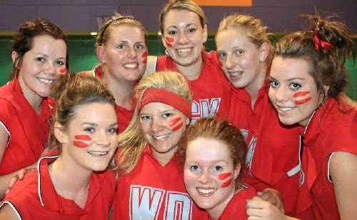 (Front, from left) Jessica Carey, Shari Hirning, Clare Donovan, (back) Jessica Van Der Poel, Jess O'Brien, Ashlee Hagan, Stephanie O'Brien and Katie Fenton won the A-grade grand final as Hazards on Monday night.