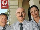 Bundaberg Post Office's Peter Collins, Bevan Griffin and Helen Ace, Bevan is taking a well deserved rest after giving Australia Post 43 years service.