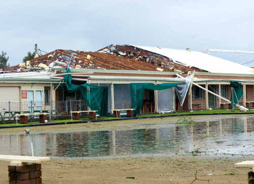 The Red Rock Bowling Club after the mini-tornado hit it on June 14