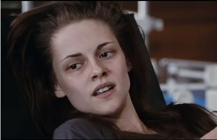 A scene from Breaking Dawn- Part I when Bella is pregnant.