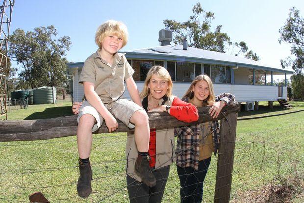 Robert, Terri and Bindi Irwin outside their homestead escape. Photo Nicholas Falconer /Sunshine Coast Daily