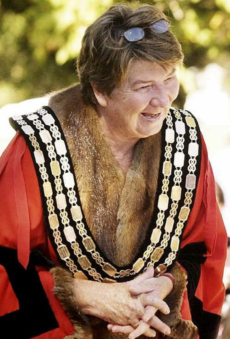 "Former Toowoomba mayor Di Thorley in the ""chain and robe of office"" that were laid to rest after council amalgamations."