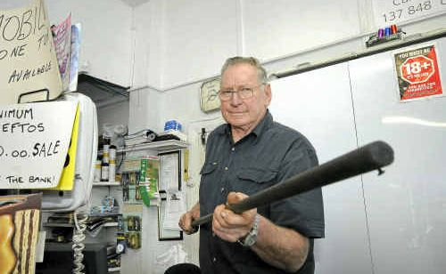 Sixty-nine year old Robert Lindsay, part owner of the Casino Service Centre, scared off a would-be robber from his shop on Thursday night with a broom.