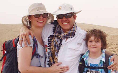 Jon Ferguson with his new love Bridget Birrell and son Callum in Saudi Arabia. The couple will wed in October, 2012.