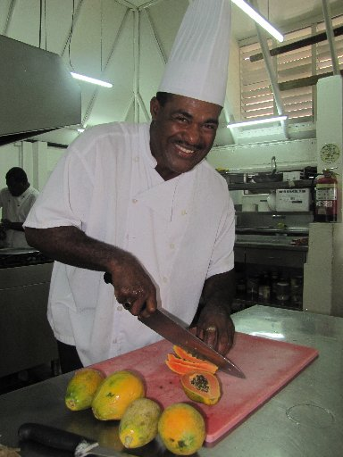 Fiji's Toberua Island Resort head chef Malakai Lutumailagi is responsible for the extensive, ever-changing menu of this island paradise off the coast of Suva.