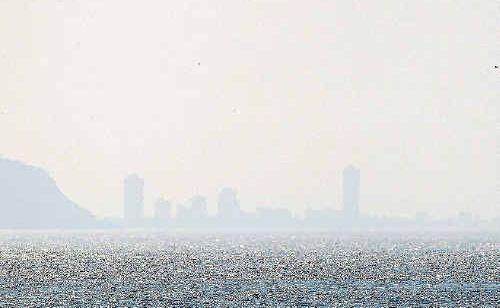 The heavy smoke haze covers the Gold Coast