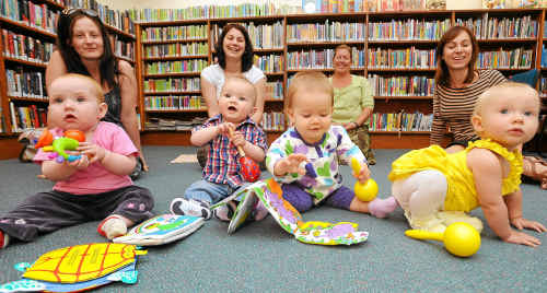 Mums and bubs in the Baby Bounce program at the library (front, left to right) Scarlett Lazenby, Oliver Inskip, Lucy Hughes and Poppy Heard, with mums (back, left to right) Loretta Ardron, Celeste Inskip, Sara Linsey and Stephanie Heard.