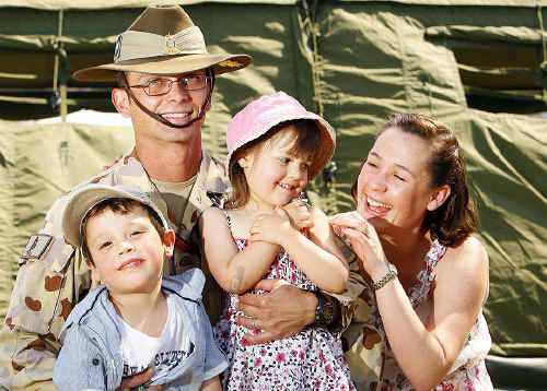 Captain Derek Russell – with his wife Cassie and children Coen, 5, and Tully, 3 – says it is hard leaving his family, particularly as the children grow older.