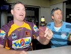 Broncos supporter Clayton Geary (left) and his mate Craig Haager had prime seats at Harrup Park Country Club for a night of football on Saturday. They joined about 150 fans who took in AFL, NRL and Rugby World Cup action.