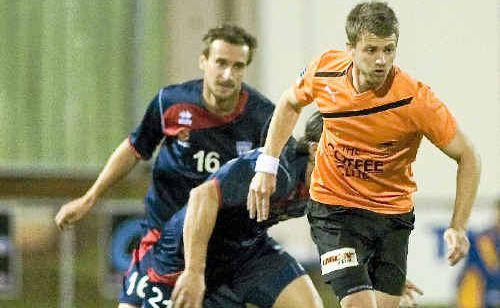 Roar midfielder James Meyer leaves Adelaide defenders in his wake at Clive Berghofer Stadium on Saturday night.