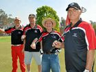 Dick Bohm, Barry 'Bazza' Hockings, John Goonan and Doug Macbeth look smart in their Warwick TAB T-shirts.