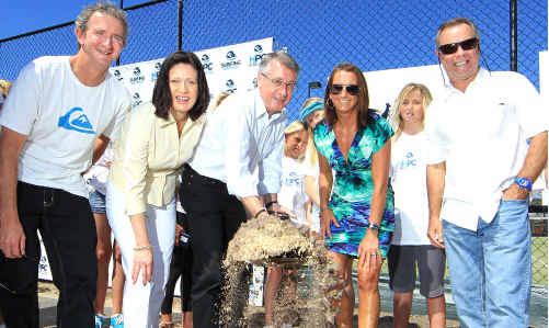 Surfing Australia's Mark Richards, Richmond MP Justine Elliot, Deputy Prime Minister Wayne Swan, seven-time world surfing champion Layne Beachley and Surfing Australia chief executive Andrew Stark gather to see the first sod of soil turned at the Surfing Australia High Performance Centre.