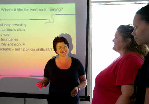 WDS Industry recruitment manager Sally Rinehart (left) gives Mackay region women Helen Goode and Brittany Bobongie tips on finding jobs in the mines.