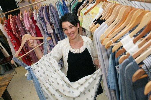 Mother Maria fashion designer Katie Gannon in her shop, Cotton & Clouds, in Palmwoods.