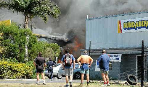 Multiple fire crews fought a large blaze on Enterprise St, Norville, yesterday.