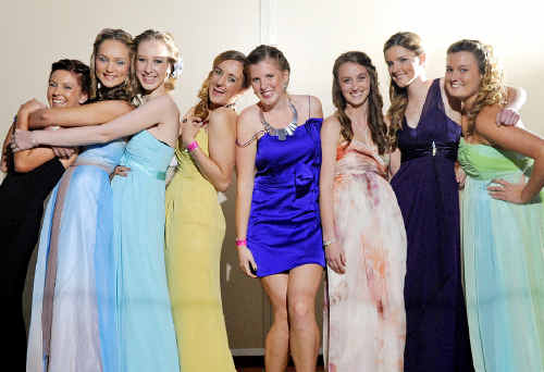 (Left to right) Brittany Moodie-Harrison, Allira Farlow, Taylor Kenny, Cassie Gardner, Kelsey Schipp, Alyssia Shannon, Georgia Plummer and Jade Schrader have some fun during their school formal.