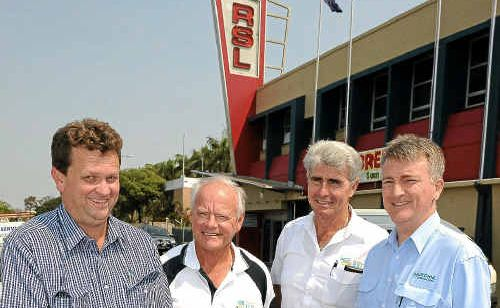 Andrew Murchie, Tom Bradbury, Col Rankin and Adrian Landbeck outside the RSL, which will soon begin $3.6 million renovations.